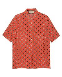 Camisa de manga corta estampada naranja de Gucci