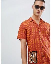 Camisa de manga corta estampada naranja de Nudie Jeans