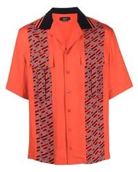 Camisa de manga corta estampada naranja de Versace