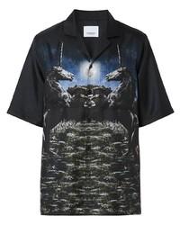 Camisa de manga corta estampada negra de Burberry