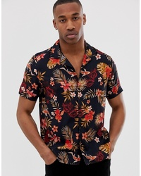 Camisa de manga corta estampada negra de Burton Menswear