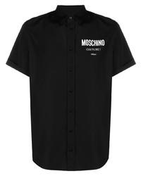 Camisa de manga corta estampada negra de Moschino