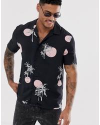 Camisa de manga corta estampada negra de New Look