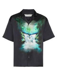 Camisa de manga corta estampada negra de Off-White