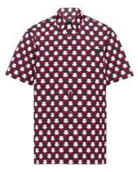 Camisa de manga corta estampada negra de Prada