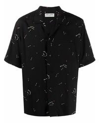 Camisa de manga corta estampada negra de Saint Laurent