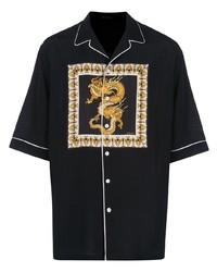 Camisa de manga corta estampada negra de Versace