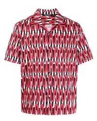 Camisa de manga corta estampada roja de Neil Barrett