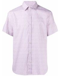 Camisa de manga corta estampada rosada de Canali