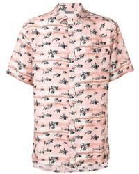 Camisa de manga corta estampada rosada de Lanvin