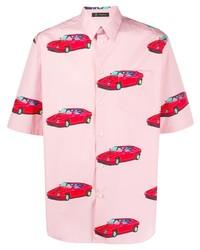 Camisa de manga corta estampada rosada de Versace