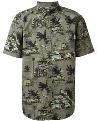 Camisa de manga corta estampada verde oliva