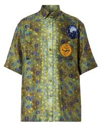 Camisa de manga corta estampada verde oliva de Burberry