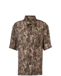 Camisa de manga corta estampada verde oliva de Lanvin