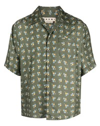 Camisa de manga corta estampada verde oliva de Marni