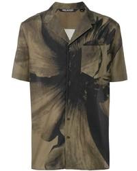 Camisa de manga corta estampada verde oliva de Neil Barrett