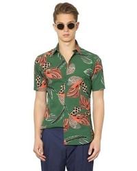 Camisa de manga corta estampada verde oscuro