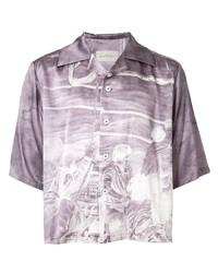 Camisa de manga corta estampada violeta claro de Necessity Sense