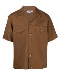 Camisa de manga corta marrón de Marni