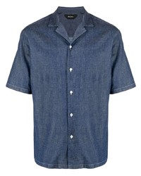 Camisa de manga corta vaquera azul marino de Z Zegna