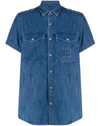 Camisa de manga corta vaquera azul de Balmain