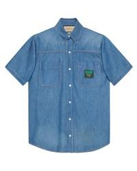Camisa de manga corta vaquera azul de Gucci