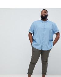 Camisa de manga corta vaquera celeste de Jacamo