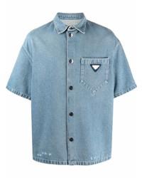 Camisa de manga corta vaquera celeste de Prada