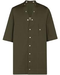 Camisa de manga corta verde oliva de Rick Owens