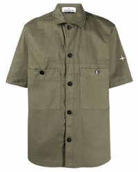 Camisa de manga corta verde oliva de Stone Island