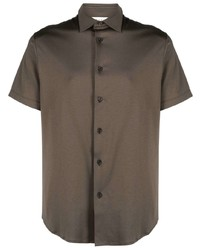 Camisa de manga corta verde oliva de Z Zegna