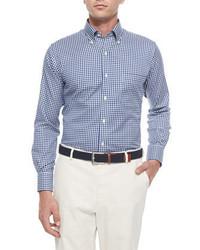 Camisa de manga larga a cuadros azul marino