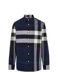 Camisa de manga larga a cuadros azul marino de Burberry