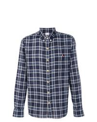 Camisa de manga larga a cuadros azul marino de Moncler
