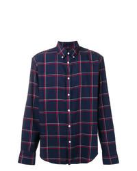 Camisa de manga larga a cuadros azul marino de rag & bone
