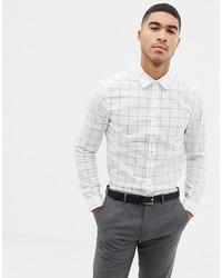 Camisa de manga larga a cuadros blanca de ASOS DESIGN
