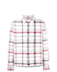 Camisa de manga larga a cuadros blanca de Moncler