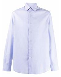 Camisa de manga larga a cuadros celeste de Lanvin