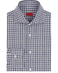 Camisa de manga larga a cuadros en azul marino y blanco