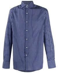 Camisa de manga larga a cuadros en azul marino y blanco de Brunello Cucinelli