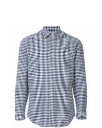 Camisa de manga larga a cuadros en blanco y azul marino de Gieves & Hawkes