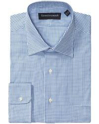 Camisa de manga larga a cuadros en blanco y azul