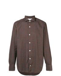 Camisa de manga larga a cuadros en marrón oscuro de Eleventy