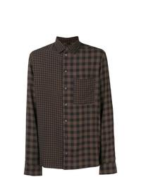 Camisa de manga larga a cuadros en marrón oscuro de Qasimi