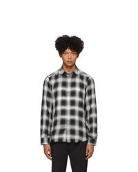 Camisa de manga larga a cuadros en negro y blanco de Diesel