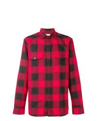 Camisa de manga larga a cuadros en rojo y negro de Calvin Klein