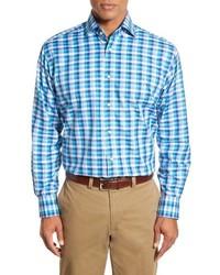Camisa de manga larga a cuadros en turquesa