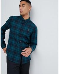 Camisa de manga larga a cuadros en verde azulado de Farah