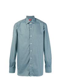 Camisa de manga larga a cuadros en verde azulado de Isaia