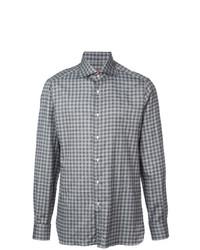 Camisa de manga larga a cuadros gris de Isaia